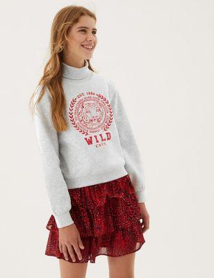Cotton Wild Cat Embellished Sweatshirt (6-16 Yrs)