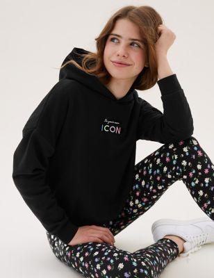 Cotton Icon Slogan Hoodie (6-16 Yrs)