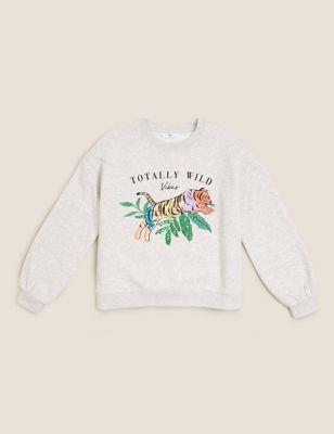 Cotton Leopard Sequin Sweatshirt (6-16 Yrs)