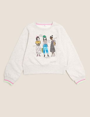 Cotton Girls Sequin Sweatshirt (6-16 Yrs)