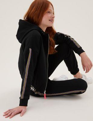 Cotton Side Stripe Zip Hoodie (6-16 Yrs)