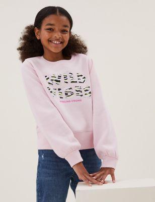 Cotton Wild Vibes Slogan Sweatshirt (6-16 Yrs)