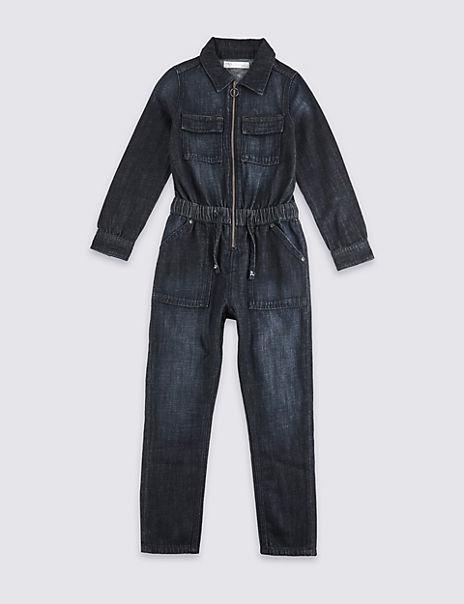 Denim Zip Front Boiler Suit (3-16 Years)
