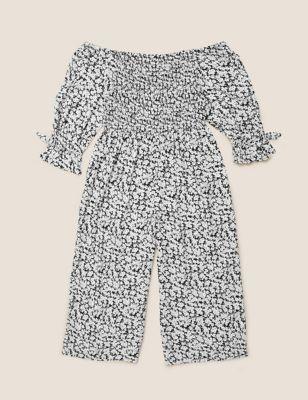 Floral Print Shirred Jumpsuit (6-14 Yrs)