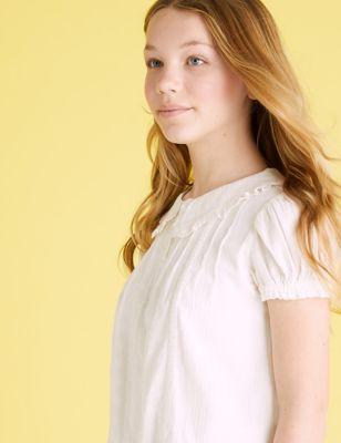 Pure Cotton Peter Pan Collar Blouse (6-16 Yrs)