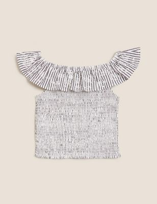 Pure Cotton Striped Seersucker Frill Top (6-16 Years)