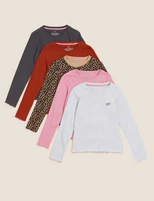 5pk Cotton Patterned Top (6-16 Yrs)