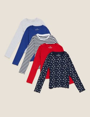 5pk Cotton Patterned Tops (6-16 Yrs)