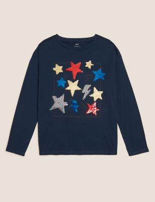 Pure Cotton Reversible Sequin Stars Top (6-16 Yrs)