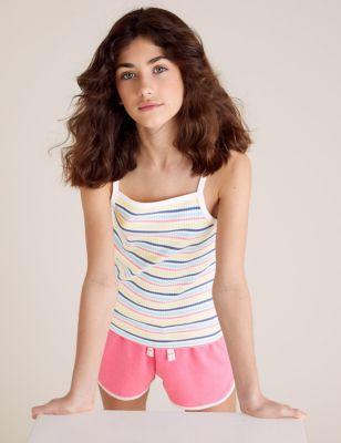Organic Cotton Striped Ribbed Vest (6-16 Yrs)