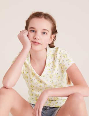 Pure Cotton Floral Ribbed Top (6-16 Yrs)