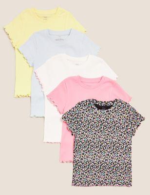 5pk Pure Cotton Ribbed Frill T-Shirts (6-16 Yrs)