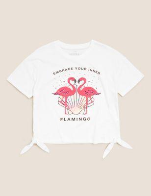 Pure Cotton Flamingo Sequin T-Shirt (6-16 Yrs)