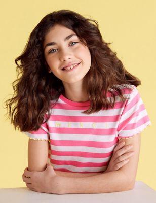 Cotton Merci Slogan Striped Ribbed T-Shirt (6-14 Yrs)