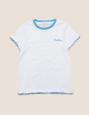 Cotton Très Bien Slogan Ribbed T-Shirt (6-14 Yrs)