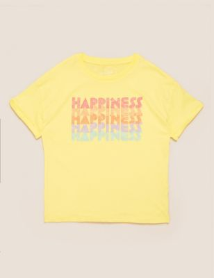 Organic Cotton Happiness Slogan T-Shirt (6-14 Yrs)
