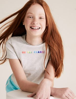 Cotton Slogan Fitted T-shirt (6-16 Yrs)
