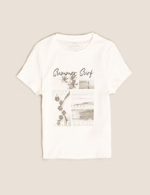 Pure Cotton Summer Surf Fitted T-Shirt (6-16 Yrs)
