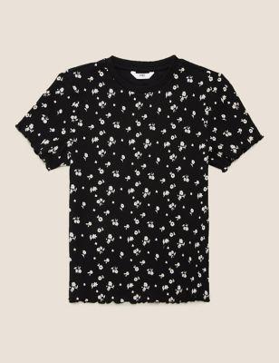 Cotton Floral Print Ribbed T-shirt (6-16 Yrs)