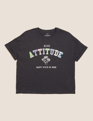 Pure Cotton Gem Slogan T-Shirt (6-16 Yrs)