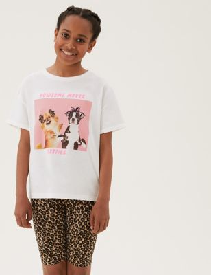 Pure Cotton Dog Photographic Print T-shirt (6-16 Yrs)