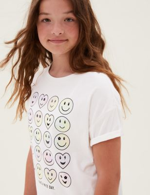 Pure Cotton Tie Dye Smile T-Shirt (6-16 Yrs)