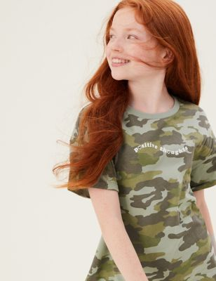 Pure Cotton Camouflage Slogan T-Shirt (6-16 Yrs)