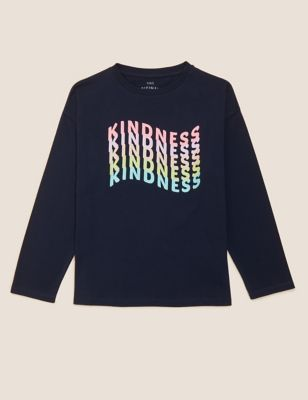 Pure Cotton Glitter Kindness Slogan T-Shirt (6-16 Yrs)