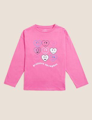 Pure Cotton Love Heart Print T-Shirt (6-16 Yrs)