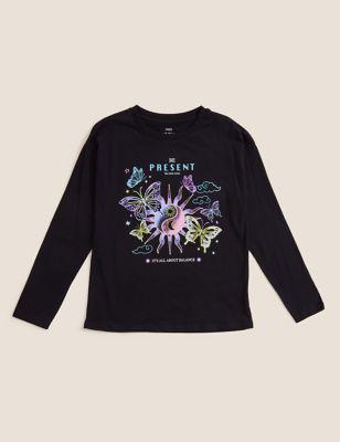 Pure Cotton Cosmic Glitter Print T-Shirt (6-16 Yrs)