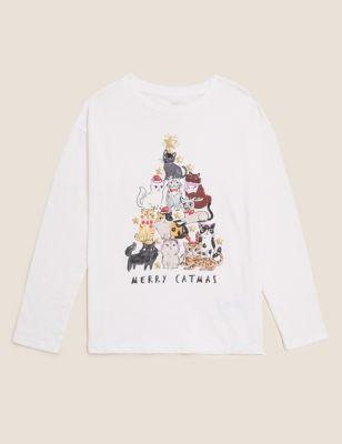 Pure Cotton Merry Catmus Slogan T-shirts (6-16 Yrs)