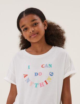 Pure Cotton Smile Slogan T-Shirt (6-16 Yrs)