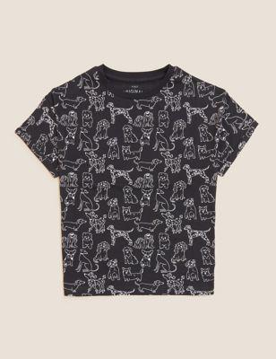 Pure Cotton Dog Print T-Shirt (6-16 Yrs)