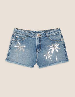 Denim Sequin Palm Tree Shorts (6-14 Yrs)