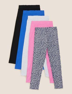 5pk Easy Dressing Cotton Leggings (6-16 Yrs)
