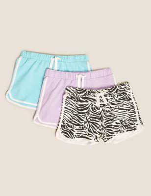 3pk Pure Cotton Shorts (6-16 Yrs)