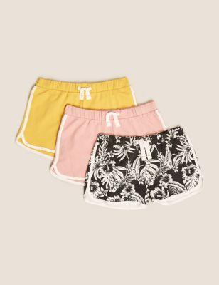 3pk Pure Cotton Tropical Print Shorts (6-16 Yrs)