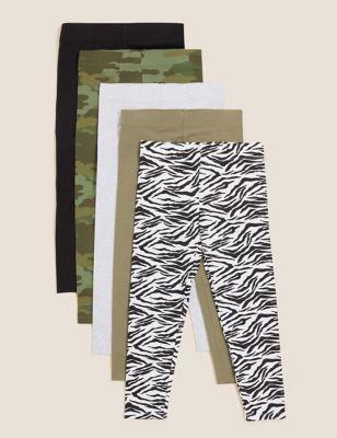 5pk Cotton Animal and Camouflage Leggings (6-16 Yrs)
