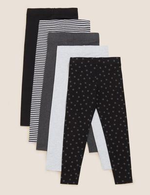 5pk Cotton Patterned Leggings (6-16 Yrs)