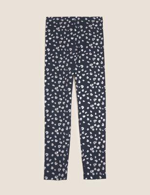 Cotton Foil Leopard Print Leggings (6-16 Yrs)