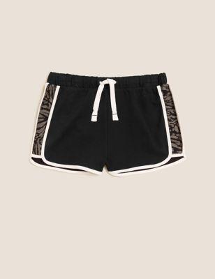 Pure Cotton Animal Stripe Runner Shorts (6-16 Yrs)