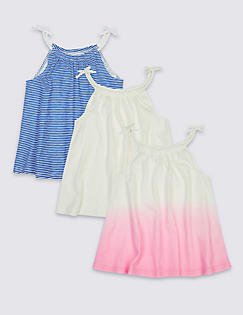 T74/5121W: 3 Pack Vest Tops with StayNEW™ (3-14 Years)