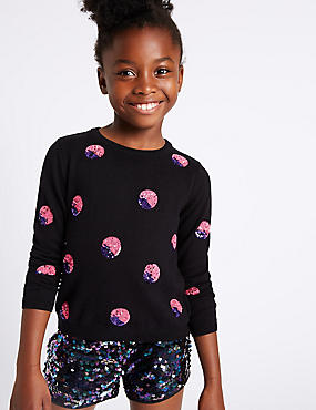 Spotted Sequin Long Sleeve Jumper (3-14 Years), BLACK MIX, catlanding