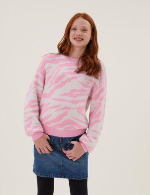 Zebra Print Knitted Jumper (6-16 Yrs)