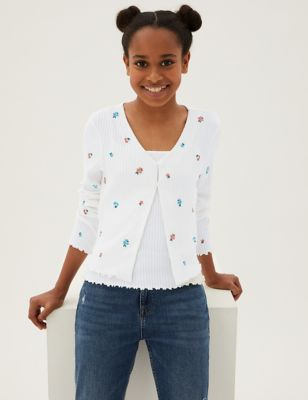 2pc Flower Embroidered Cardigan Set (6-16 Yrs)