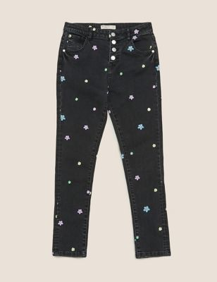 Mini Ivy Skinny Cotton Embroidered Jeans (6-14 Yrs)
