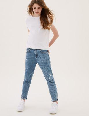 Mom Fit Denim Floral Jeans (6-16 Yrs)