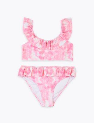 2 Piece Tie Dye Frill Bikini (6-16 Yrs)