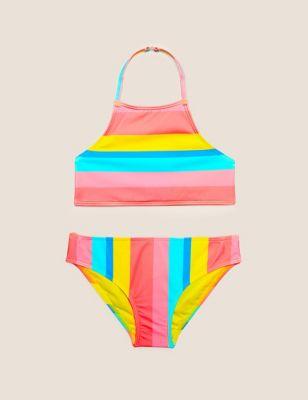 Striped Halterneck Bikini (6-10 Yrs)