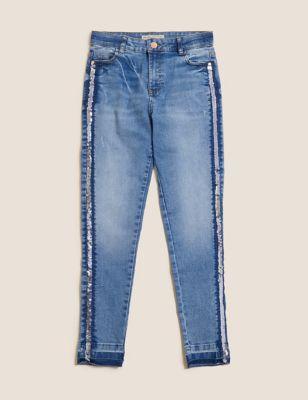 Mini Ivy Skinny Denim Side Stripe Jeans (6-16 Yrs)